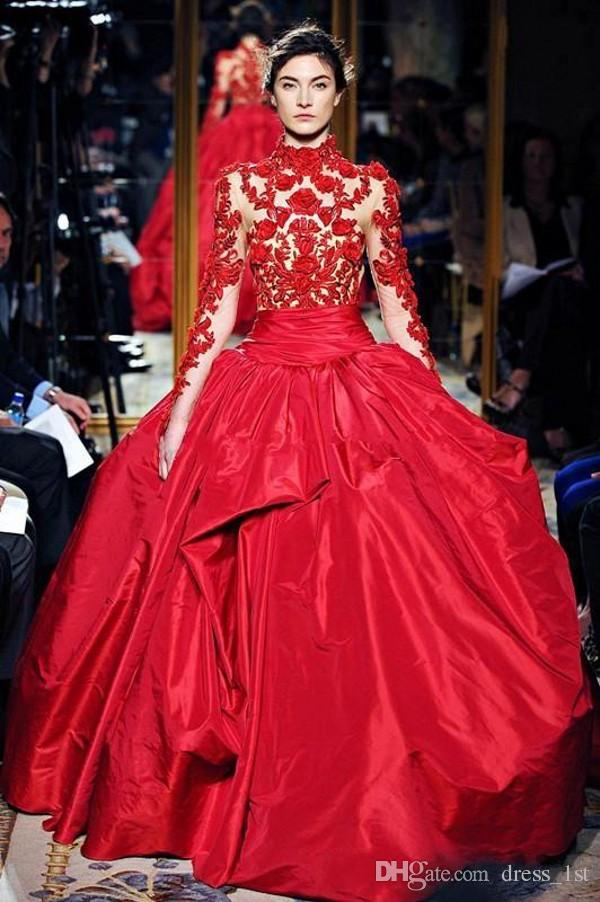 Gorgeous Red Carpet Dresses Evening Wear Sheer High Neck Ball Gown Red Lace and Satin Long Sleeve Prom Dress