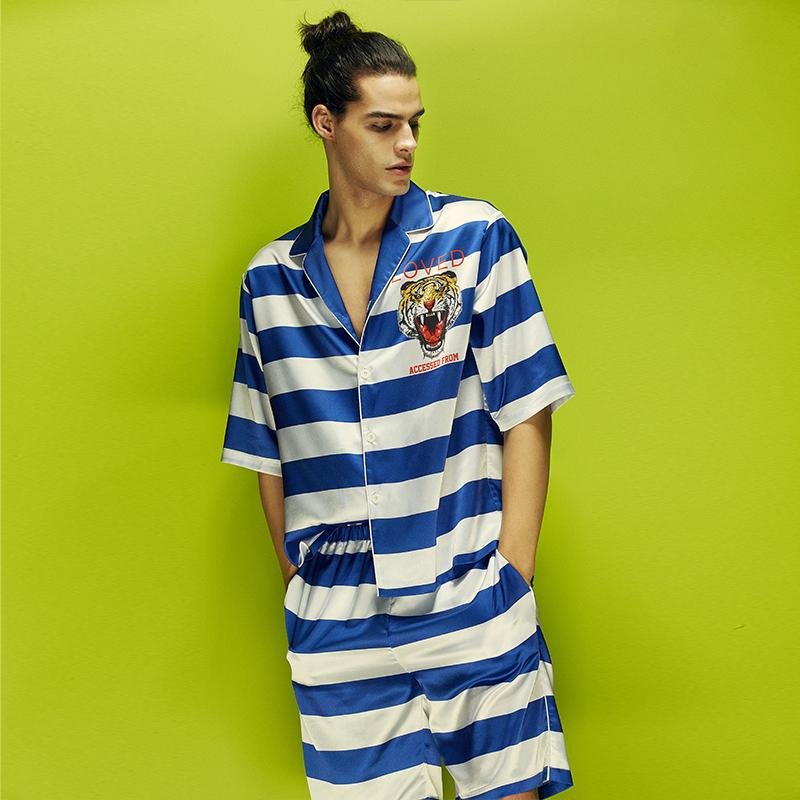 770a416de Men Satin Pajamas Sets Summer Silky Sleep Shirts And Shorts Blue White  Striped Power Tiger Print Fashion Loungwears Loose Pajama Canada 2019 From  Bunnier, ...