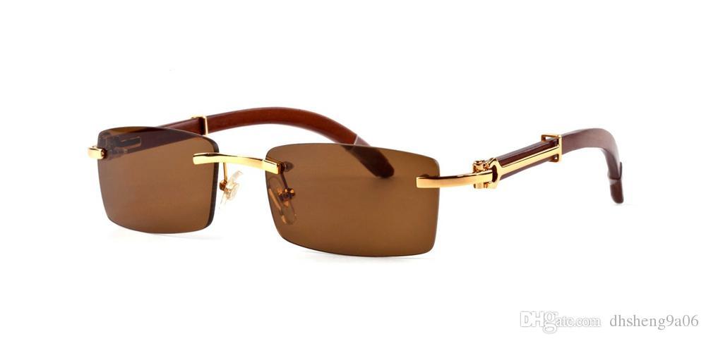 Compre 2018 Designer De Marca De Luxo Óculos De Sol Para Homens Mulheres  Chifre De Búfalo Óculos Sem Aro Rectângulo De Bambu De Madeira Óculos De Sol  Com ... d8f7497eff