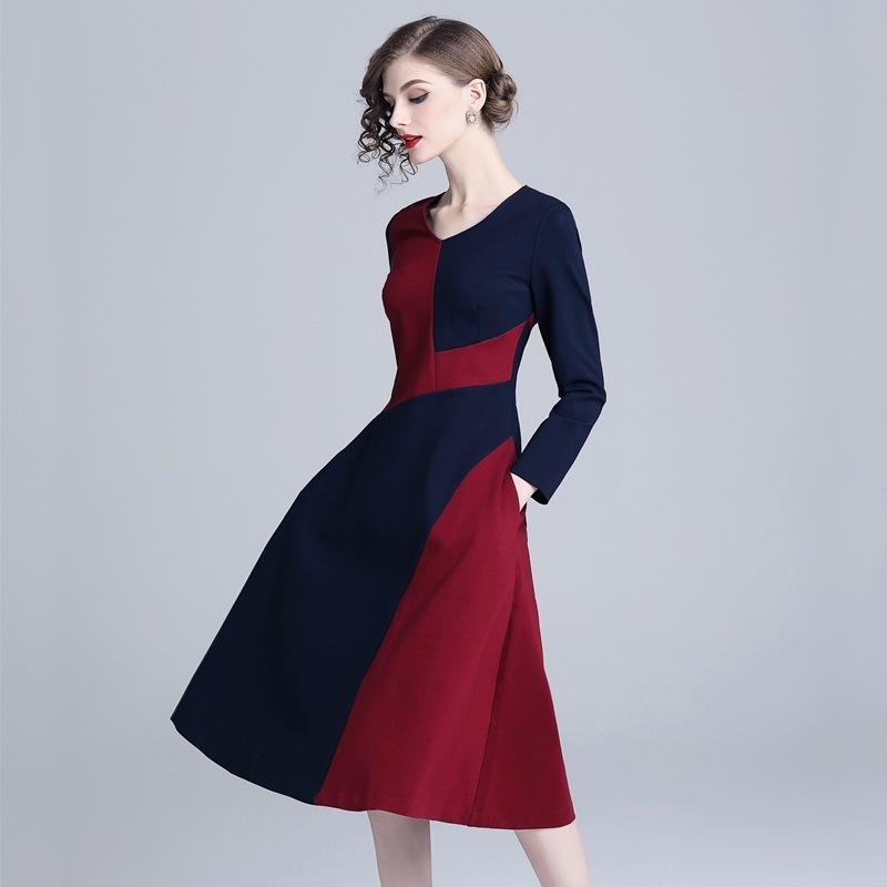 e0b0a7e6e45e27 Großhandel Casual A Linie Kleider Langarm Urlaub Kleid Slim Fit Vintage  Kontrast Farbe Knielang Plus Size Kleider Von Sinofashion, $41.11 Auf  De.Dhgate.