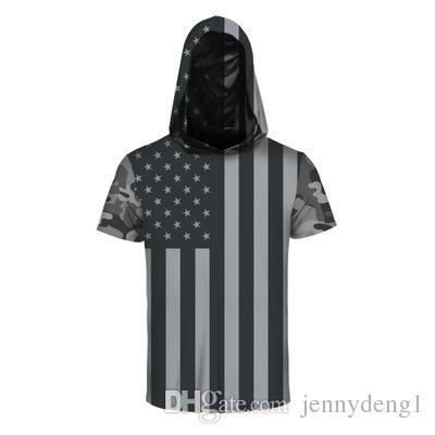 la camiseta promocional 100% del poliester de los hombres de la novedad ocasionales ocasionales de los hombres viste la camiseta impresa capucha de la manga corta