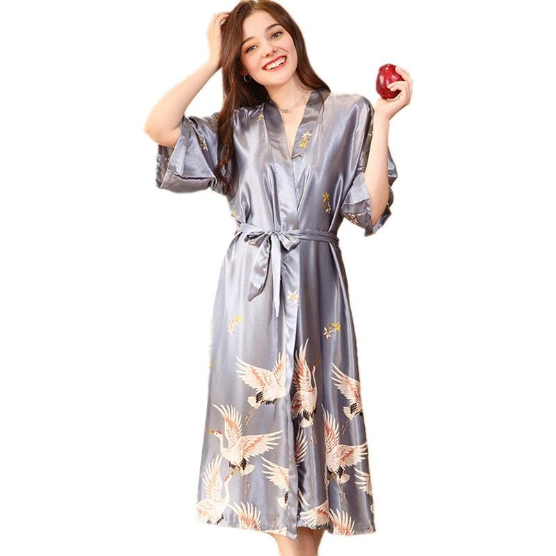 ce815683be 2019 Satin Robes Casual Print Robe Sleepwear Silk Pajamas Casual Bathrobe  Animal Rayon Long Nightgown Women Kimono XXXL Summer Loose From Laftfly