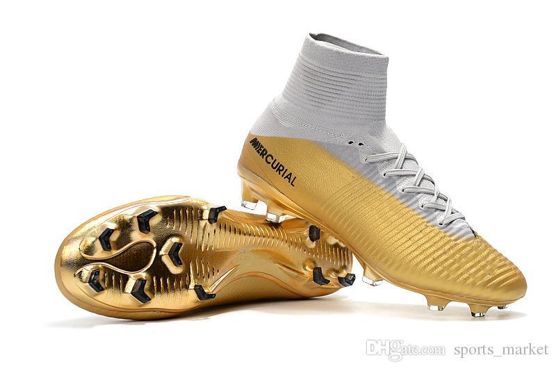 2b3dc3543b313 Compre 2018 Botines De Fútbol Para Niños Oro Blanco CR7 Zapatos De Fútbol  Para Niños Originales Mercurial Superfly V FG SX Neymar JR Botas De Fútbol  Para ...