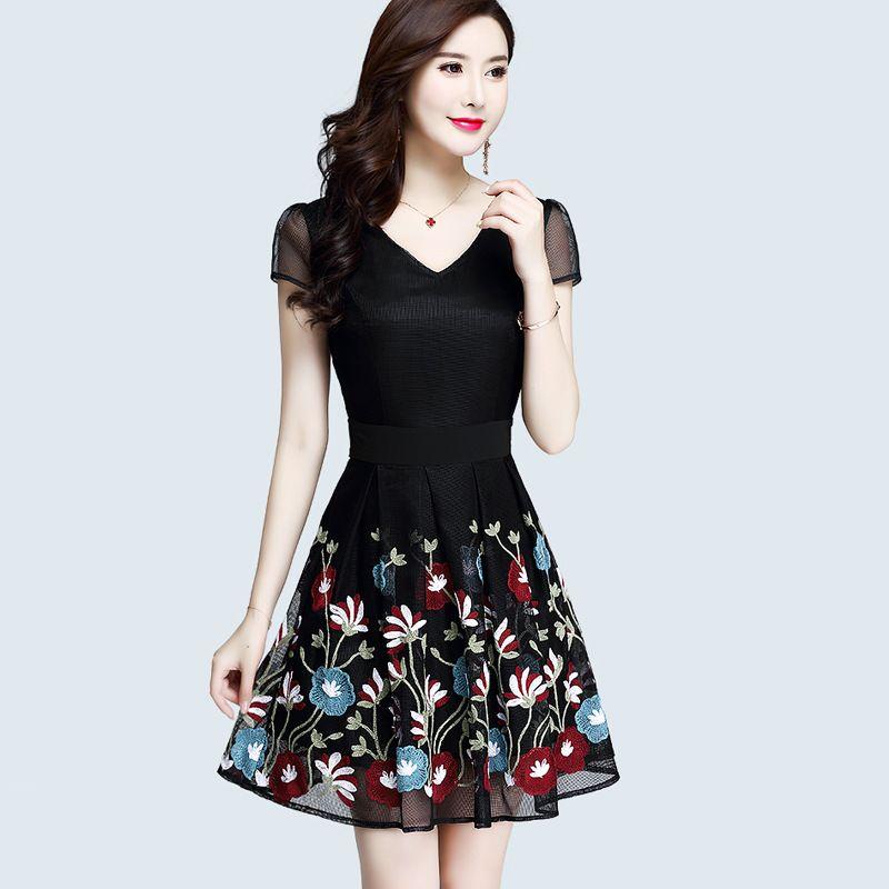 8cd71d19a0905 Women Summer Dresses Flower Embroidery Mesh Black Elegant Dress Short Sleeve  2018 New Style Vestidos Mujer De Festa Fairy Dreams Semi Formal Dresses  Black ...