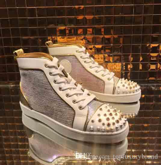 c38403a70e7 Luxury Brand Stuff Shoes Red Bottom Sneakers Men Sneakers Flat Shoes High  Top Rainbow Discoloration Genuine Leather With Screw Rivets Best Red Bottom  ...