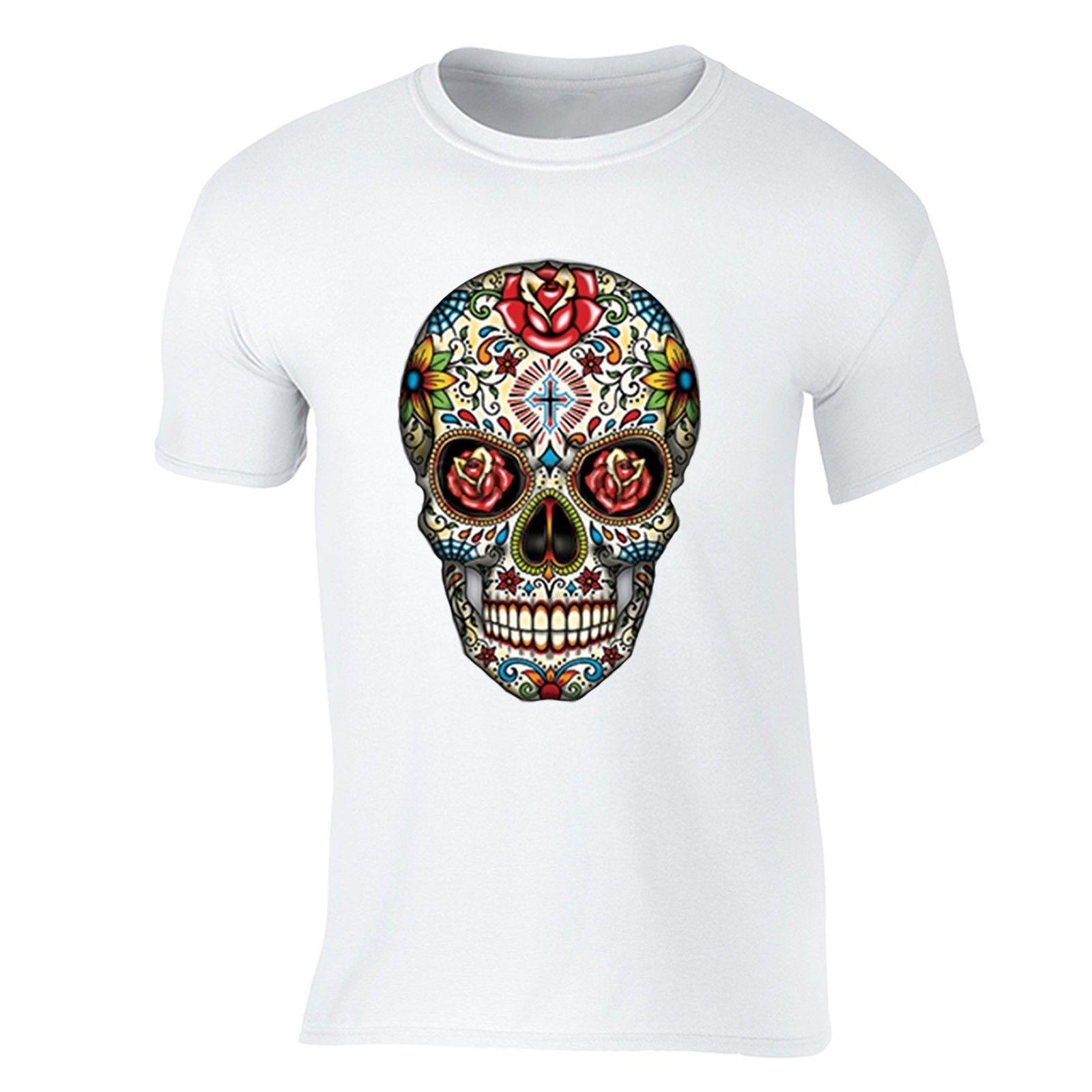 c799595c4 Fashion Men Tshirt Sugar Skull Day Of The Dead T Shirt Flowers Mexican  Gothic Dia Los Muertos Shirt O Neck T Shirt Shirts With Designs R Shirt From  ...