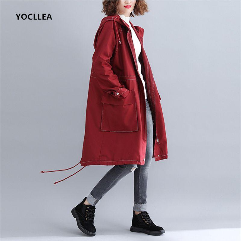 on sale e9975 8e9a7 Rot Kapuzen Trenchcoat Für Frauen 2018 Herbst Winter Jacke Frauen Langarm  Strickjacke Graben Outwear Feminino Lose Beiläufige Tops