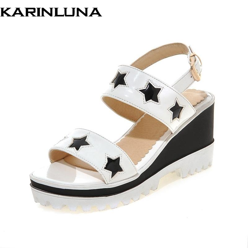 976ae8180 Wholesale 2018 Big Size 33 43 Star Summer Platform Sandals Shoes Women  Leisure Platform Wedge High Heels Woman Shoes Flat Sandals Strappy Sandals  From ...