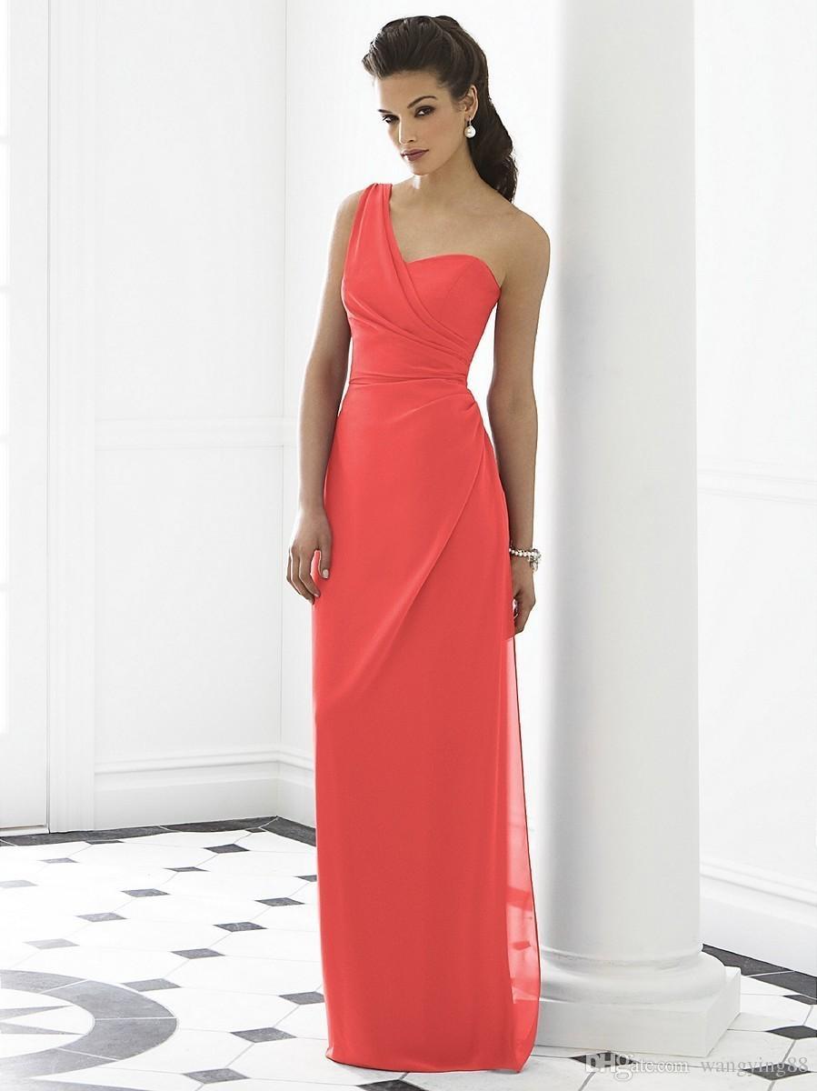 Vestidos De Madrinha 2018 Rot Lange Günstige Brautjungfernkleider Unter 50 Eine Schulter Chiffon Vestido De Festa De Casamento