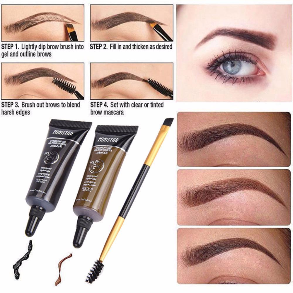 Waterproof Tint Eyebrow Henna With Mascara Eyebrows Paint Brush