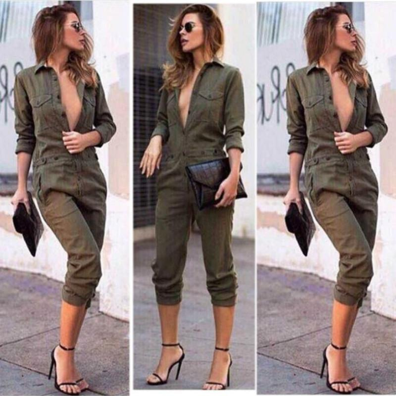 8bdb318252f 2019 2018 Fashion Casual Army Green Jumpsuit Womens V Neck Ladies Evening  Clubwear NightOut Party Playsuit Pocket Hot Selling From Avive