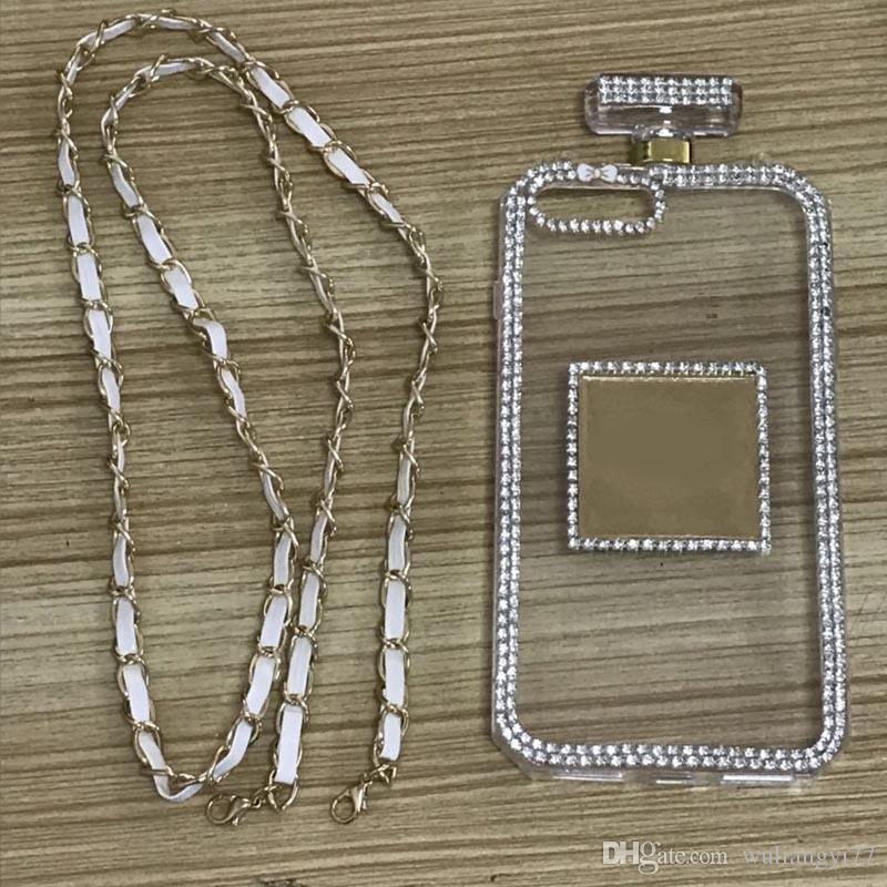 Iphone 6s 6 8 7 plus Fashion Strass Flacone di profumo Custodia in silicone TPU telefono con cassa a catena Diamond