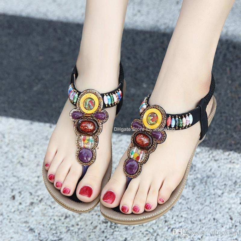 Fashion Bohemian Women Sandals Gemstone Beaded Slippers Summer Beach  Sandals Lady Flip Flops Flat Designer Shoes Flipflops Claquettes Femme High  Heels Shoes ... be623fce86e3