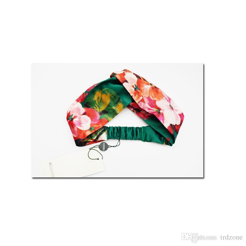 Beste geschenk Für frauen Designer 100% Seide Kreuz Blumen Stirnband Mode Elastische Sterne Haarband Für Frauen Mädchen Retro Turban Headwraps
