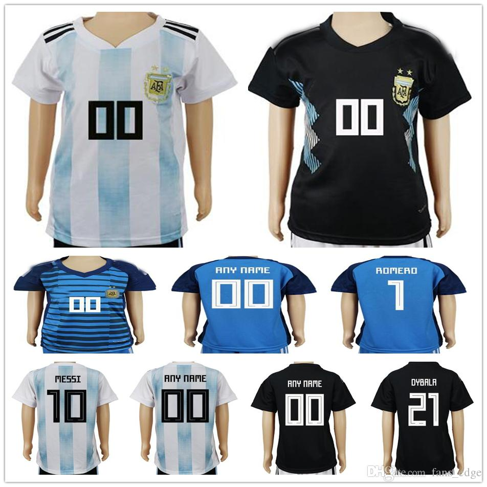 a730e5e2ab1 2019 Kids Argentina Soccer Jerseys 10 MESSI MARADONA 20 KUN AGUERO 21  DYBALA 6 BIGLIA 9 ICARDI Custom Home White Youth Boys Football Shirts From  Fans_edge, ...
