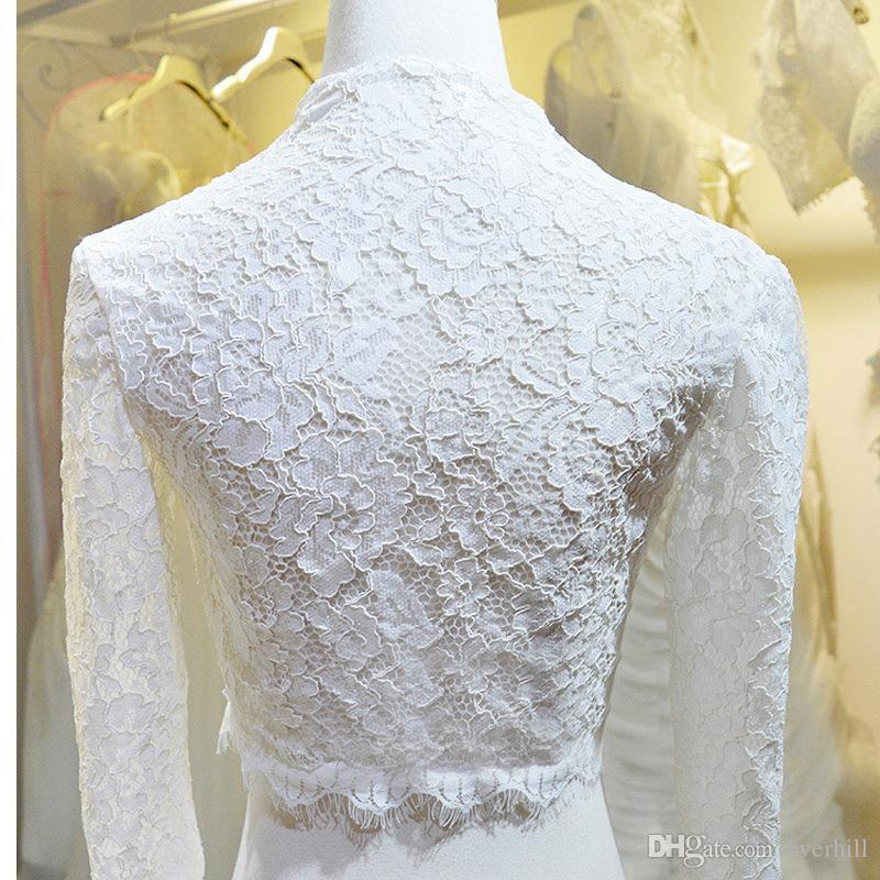 JaneVini 2018 Modest White Muslim Wedding Dresses Detachable Lace Jacket V-Neck Church Long Sleeve Bridal Gowns Bride A Line Chapel Train