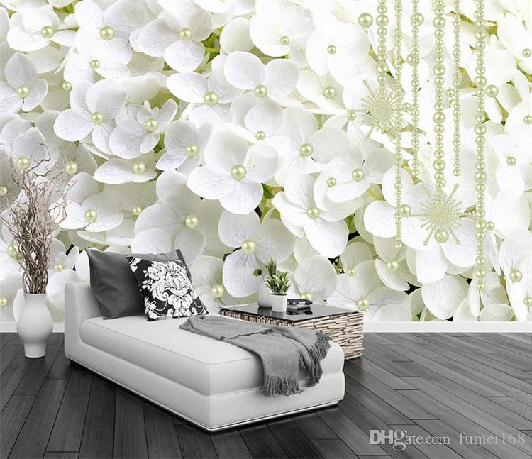 Modern Abstract White Pearl Jewelry Flowers 3D Stereo