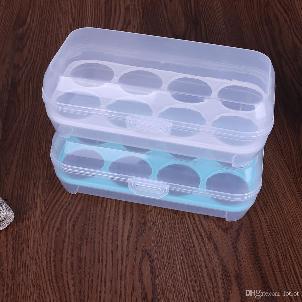 8 Rejillas Caja de Huevos Organizador de Contenedores de Comida Convenientes Cajas de Almacenamiento de Doble Capa Cajas de Almacenamiento de Cocina Crisper Durable