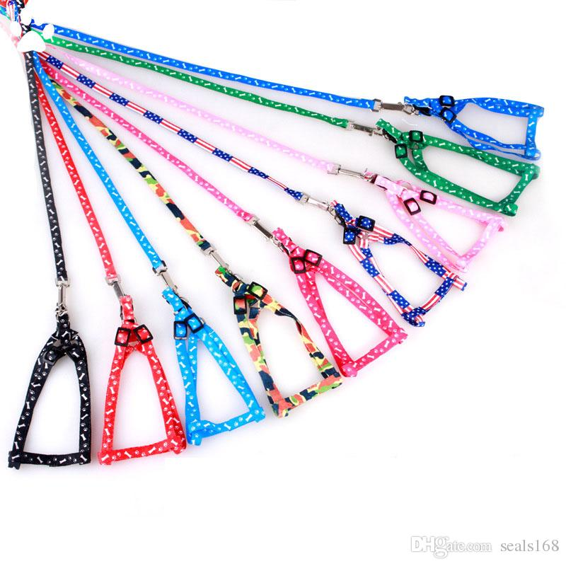 1.0*120cm Dog Harness Leashes Nylon Printed Adjustable Pet Dog Collar Puppy Cat Animals Accessories Pet Necklace Rope Tie Collar HH7-1172