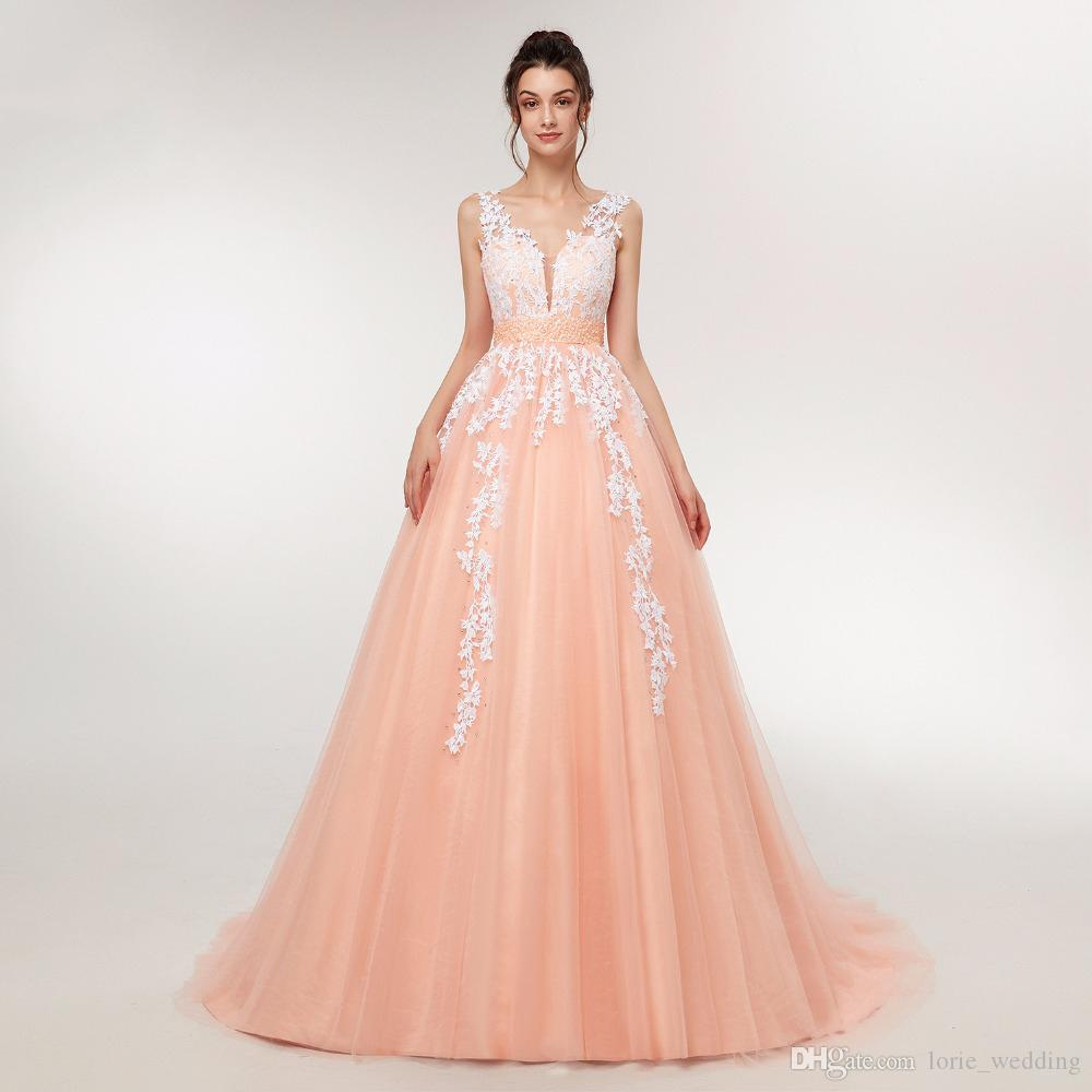 Discount Wedding Dress 2018 Peach Lace Appliques Beaded V Neck ...