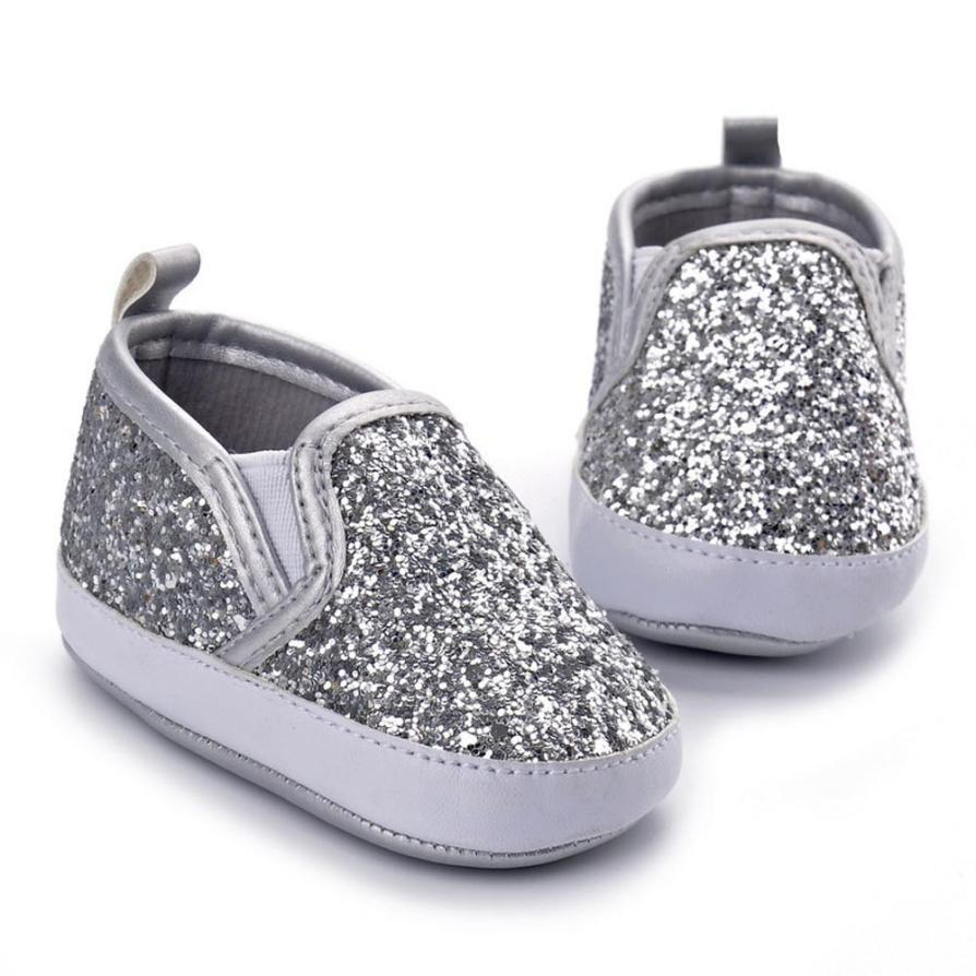 c4e2bd3755 Compre Baby First Walker Shoes Zapatos De Cuna Para Bebés Zapatillas Suaves Para  Niña Brillantes Para Niñas Lentejuelas Botines Para Niñas A $26.17 Del ...