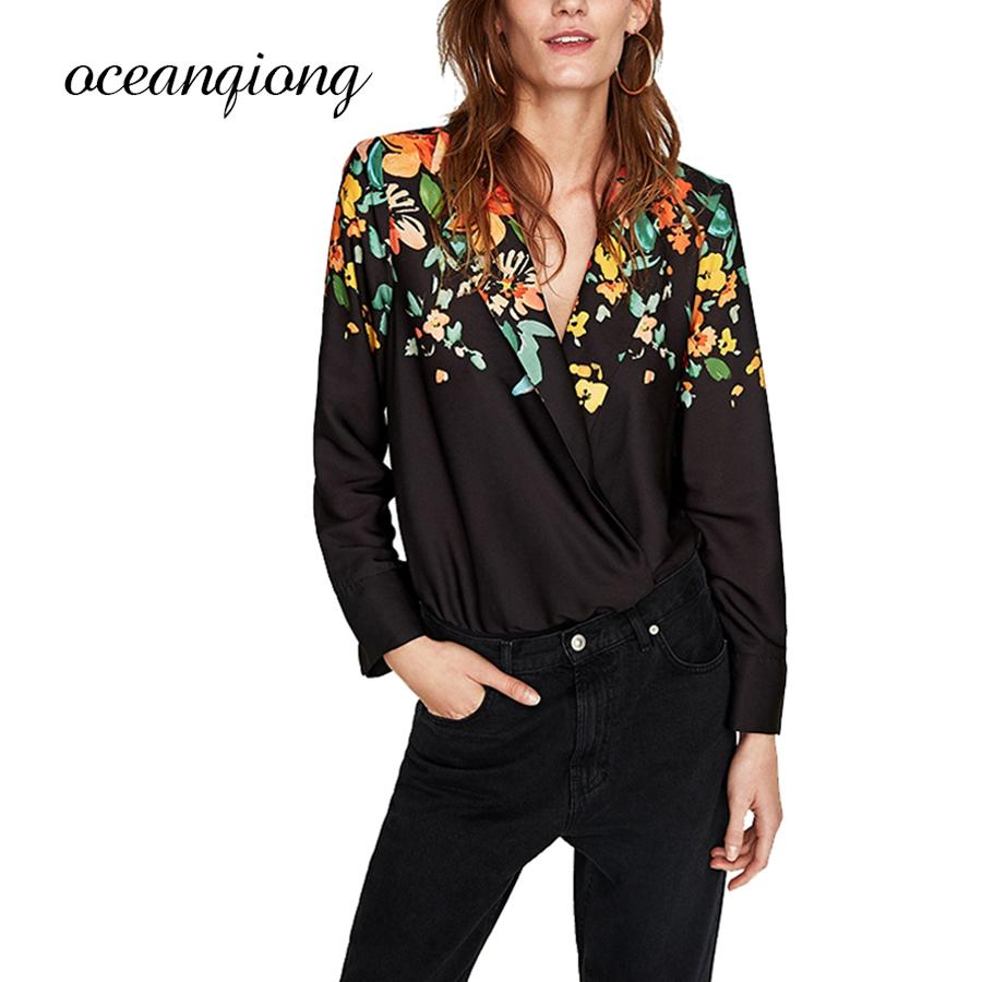 5d9b008759a1b 2019 Floral Print Blouses Women Shirt Jumpsuit Long Sleeve Shirts Deep V  Neck Blouse Bodysuits Sexy Women Blusas Tops 2018 From Bida Josh