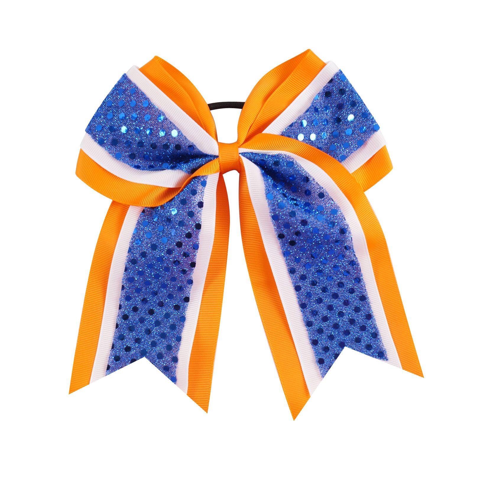 "7"" Softball Football Baseball Cheer Bows Handmade Ribbon Glitter Stiches with Ponytail Hair Holders for Cheerleading Girls Hairbands 473"