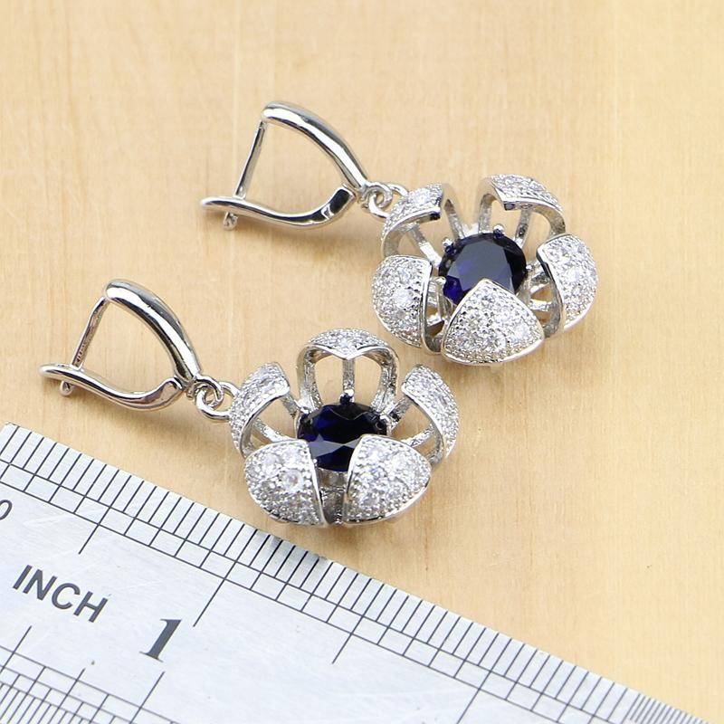 Blume geformt 925 Sterling Silber Brautschmuck Sets blau Zirkon Weiß CZ für Frauen Ohrringe / Anhänger / Ring / Armband / Halskette
