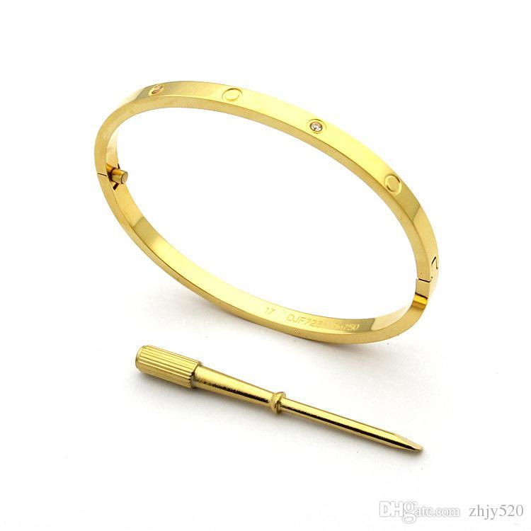 Mode heißes Modell Edelstahl Silber Liebe Schraubendreher Armband 5mm Titan Armband 18 Karat Vergoldete Armbänder Armreifen für WomenFashion
