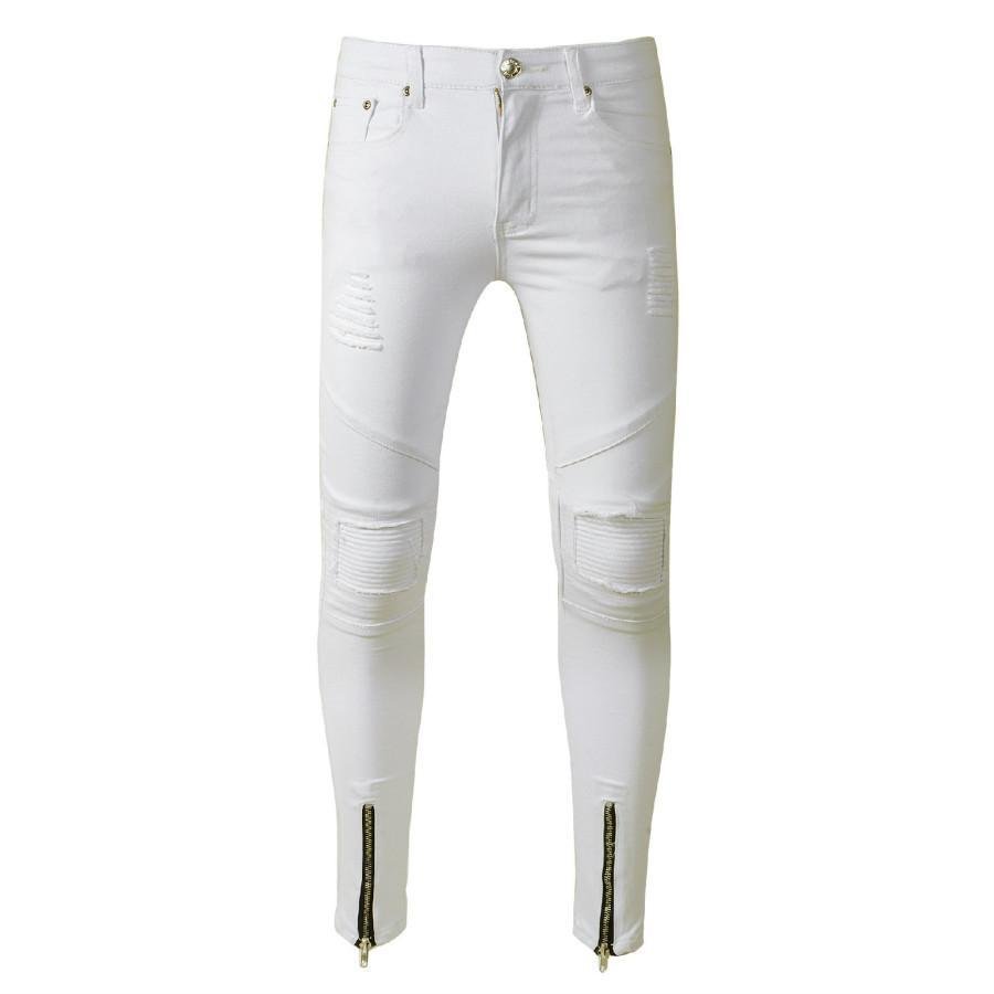 fbaa0e29e0 Jeans bianchi Uomo Slim Fit Super Skinny Jeans Stretch Moto Biker Strappato  Jeans Denim Pantaloni Hip Hop Streetwear Tapered Mens Pants