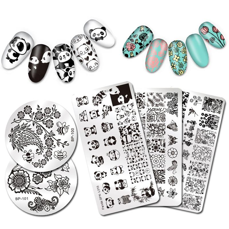Born Pretty Nail Stamping Plate Animal Plant Cute Cat Flower Design