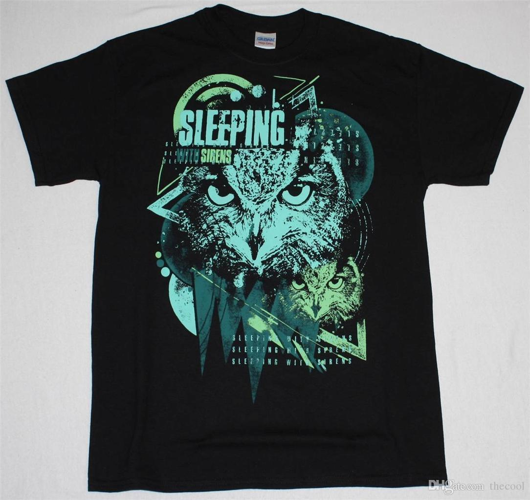 SLEEPING WITH SIRENS OWL POST HARDCORE MEMPHIS MAY FIRE NEW BLACK T-SHIRT