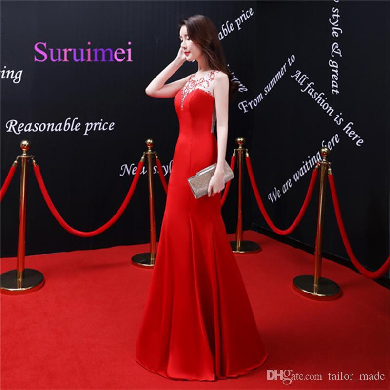 2019 Red Long Mermaid Evening Dresses Scoop Neck With Crystal Sleeveless Prom Gowns For Party Dress