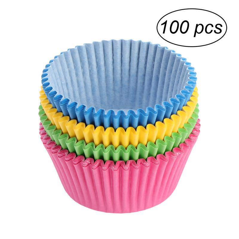 100pcs Assorted Color Cupcake Wrappers Liners Muffin Cases Cake Cup Party Favors