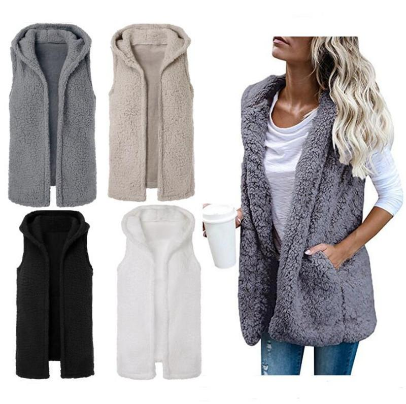 c0795d269c37b Sherpa Women Vest Sleeveless Berber Fleece Waistcoat Winter Hooded Cardigan  Coat Autumn Warm Outwear Hoodies Ladies Sherpa Cloak Coats S XL Canada 2019  From ...