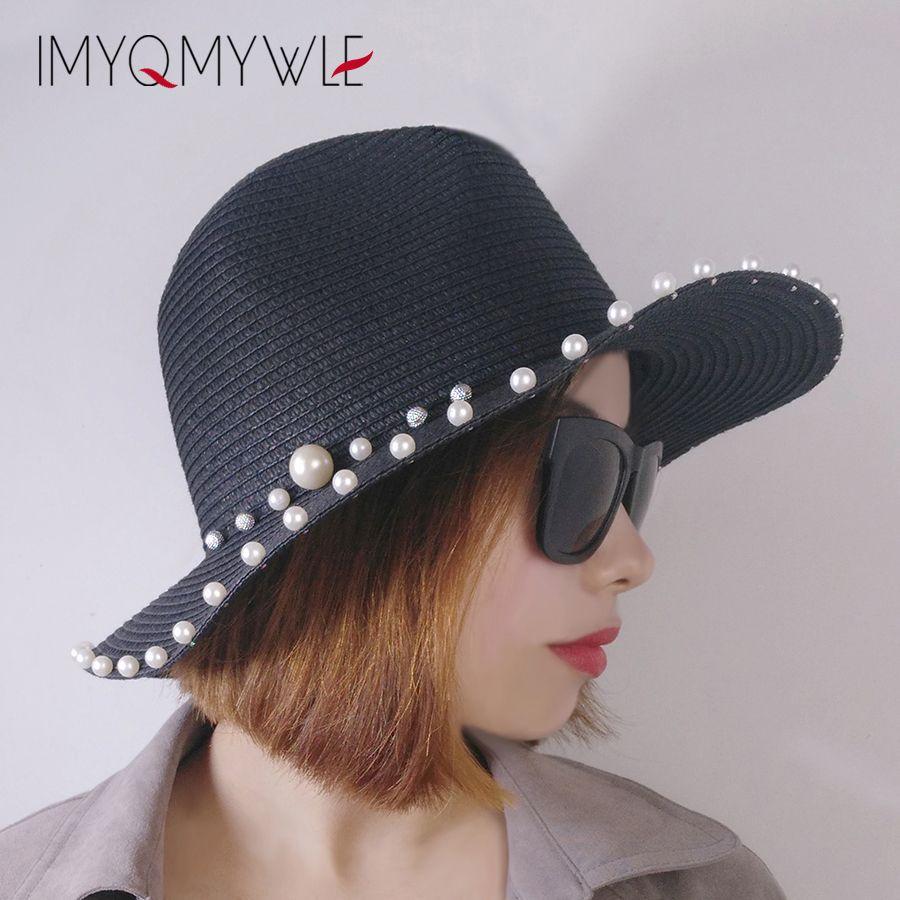 7eb2f4ac35504 2018 Fashion Ladies Summer Pearl Sun Beach Hat Brim Flat Top Straw Hat Trip  Caps Panama Breathable Pearl Top Cap For Women WH280 Straw Cowboy Hats Sun  Hats ...