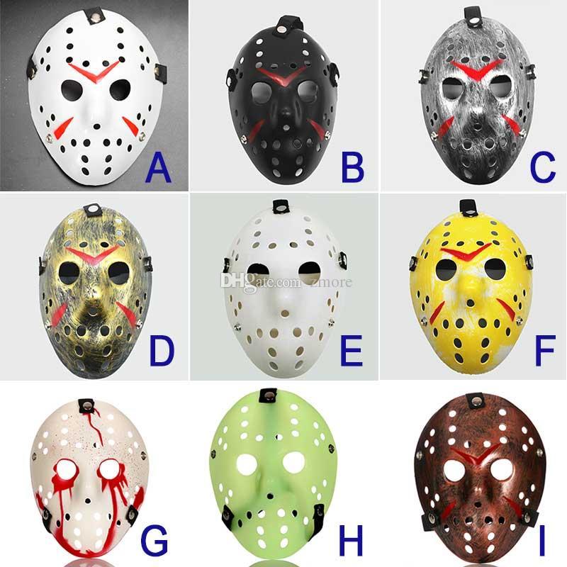 Jason Máscara 9 cores Full Face antigo assassino Máscara Jason vs Sexta-Feira 13 Prop Hockey Horror Máscara Halloween Cosplay
