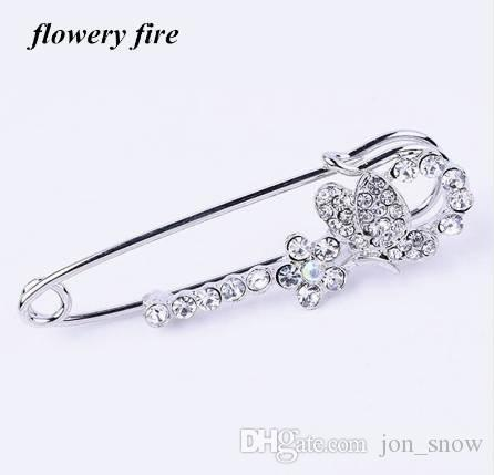 eaa8e9a81d Hot Korean Crystal Rhinestone Butterfly Brooches hijab pins for Man Women  Suit Scarf Flower Brooch Pin Jewelry Accessories Gift
