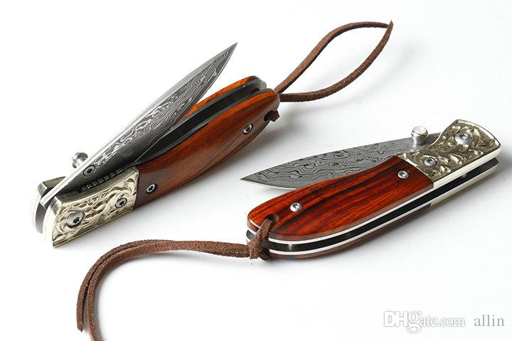New EDC Pocket Folding Knife Damascus Steel Blade Rosewood Handle Liner Lock Small Folding Knives With Nylon Bag