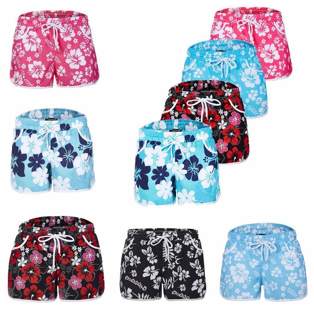2019 Ladies Beach Floral Board Shorts Swimming Hot Pants Hawaiian Summer  Flower Print Women Shorts Casual Surf Board Shorts FFA141 From Sport no1 c8cfed7c99