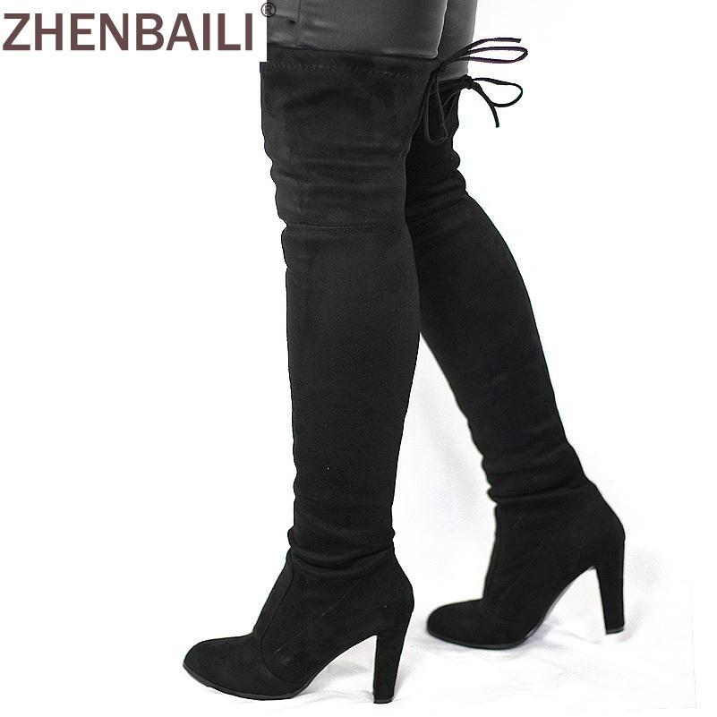 030ba180043c1b Women Faux Suede Thigh High Boots Fashion Over The Knee Boot Stretch Flock  Sexy Overknee High Heels Woman Shoes Black Red Gray Combat Boots For Women  Sexy ...