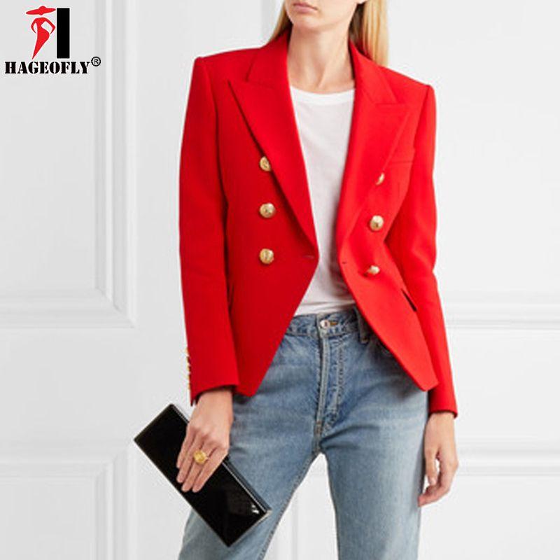 Acquista HAGEOFLY Autunno Inverno Red Blazer Donna Ufficio Slim Giacca  Formale Casual Doppio Petto Bottoni In Metallo Blazer Abbigliamento Da  Lavoro Top A ... f01c37095f0