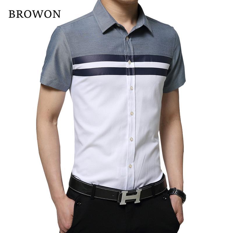 Browon Nueva Llegada Camisa Para Hombre Moda Manga Corta Camisa De Hombre Regular Fit Diseno De Rayas Social Camisa Social Masculina