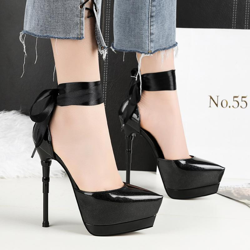 Fashion 14.5cm ultra high heels party shoes high quality leather platform pumps lady black lace up designer wedding shoes 219-12 free shipping manchester great sale pick a best cheap price purchase for sale free shipping footaction limited edition cheap price zI9N2ffw