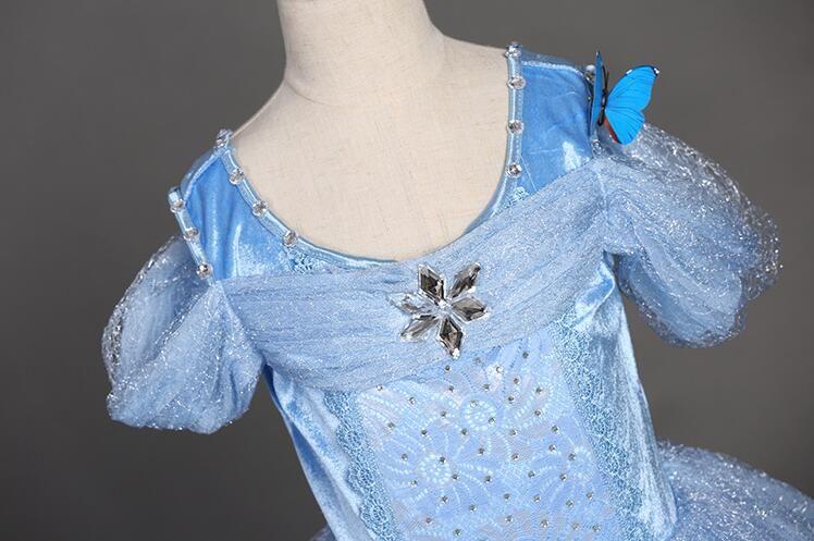 Schneeflocke Diamant Cinderella Kleid 2018 Phantasie Kostüme für Kinder blau Kleid Halloween Baby Mädchen Schmetterling Kleid 5 Schichten auf Lager