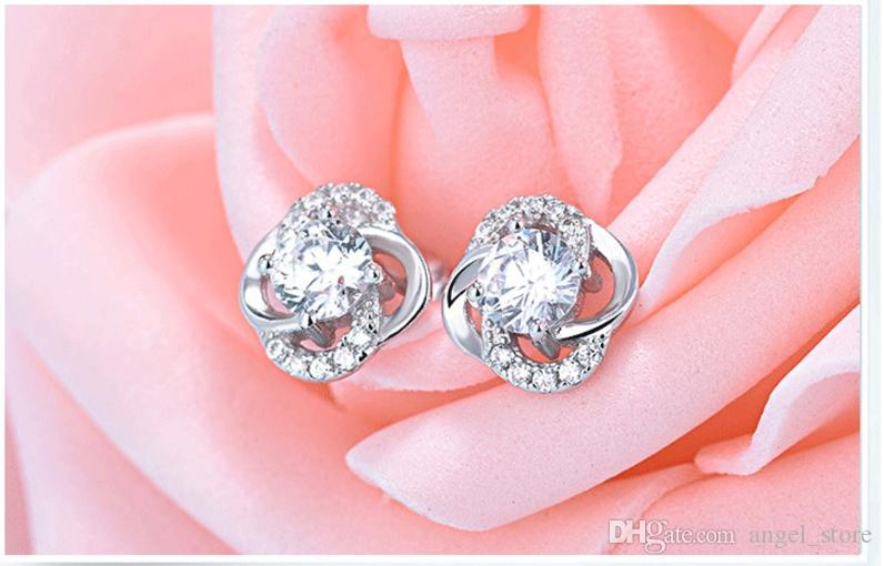 Authentic Genuine 925 sterling silver bling halo spring flower diamond wedding earring