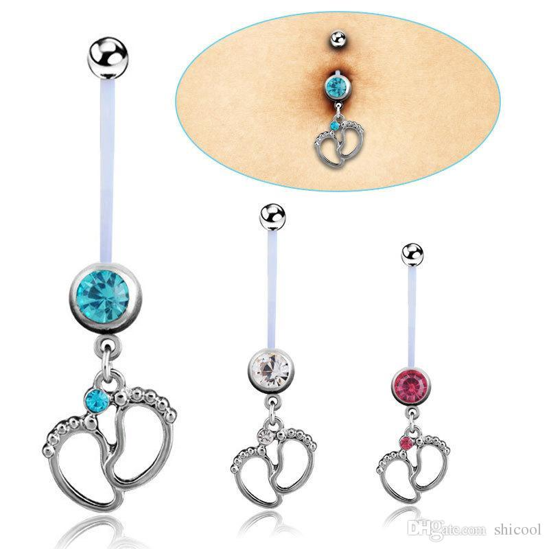 Navel Pregnant Maternity Jewelry Belly Ring Belly Button Piercing Baby Foot Rings Piercing Body Jewelry For Pregnant Women 3 Colors