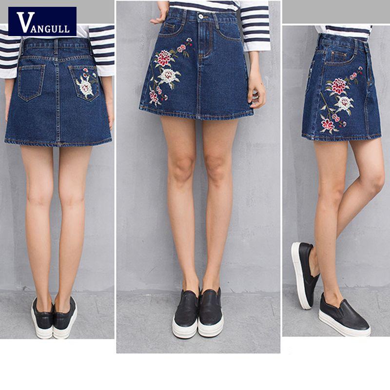 6e1e37a9a8b038 Femmes taille haute Jeans jupe broderie de fleurs 2018 été nouveau mode  Style dames bleu foncé mini jupe de jeans