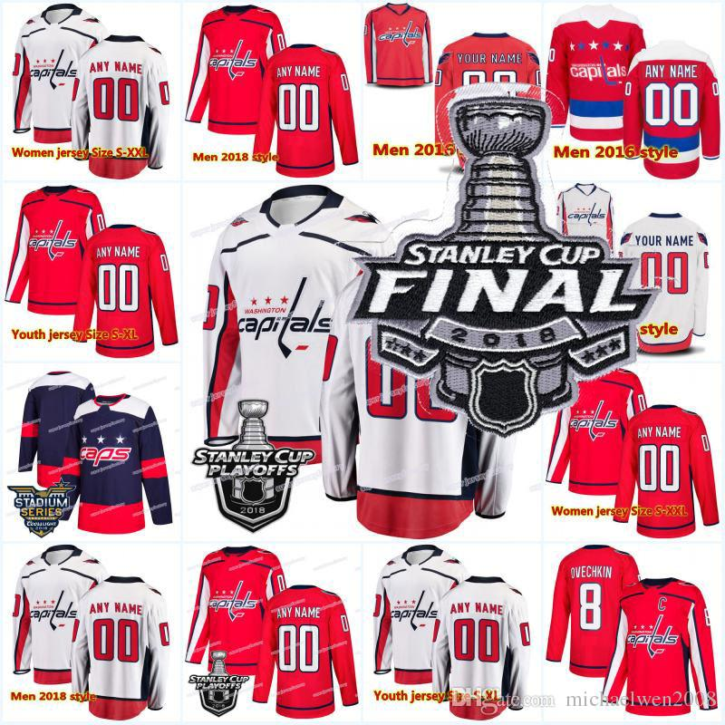 2019 2018 New 8 Alex Ovechkin 70 Holtby 19 Backstrom 74 John Carlson 77 TJ  Oshie Washington Capitals Stanley Cup Playoffs Finals Hockey Jerseys From  ... 9bc92c56f