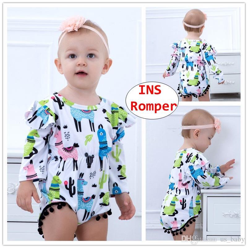 97e5d24e2 2019 Baby Alpaca Cactus Print Rompers Infant Girl Full Print Long Sleeve  Jumpsuit Toddler Summer Bodysuit For 3 18M From Us_baby, $4.63 | DHgate.Com